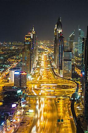 夜晚迪拜全景图片