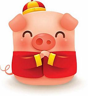 拜年小猪招财矢量高清素材图片