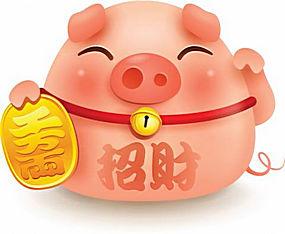 招财卡通可爱小猪高清素材图片