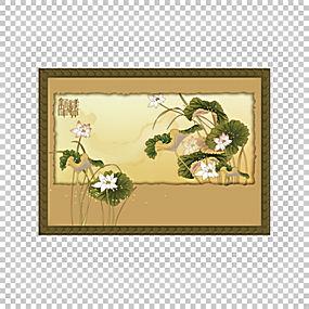 中国新年祝福假期,复古莲花的PNG剪贴画边框,愿望,文化,棕色,矩形