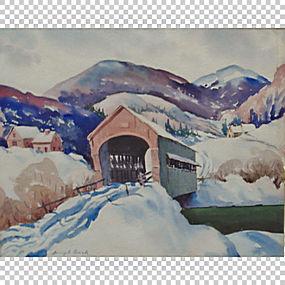 水彩画水彩风景桥山水画,画PNG剪贴画水彩画,冬季,风景,桥梁,绘画