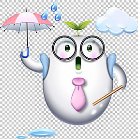 寒冷的暴雨小雨天气,可爱的卡通小人互联网鸡蛋PNG剪贴画卡通人物