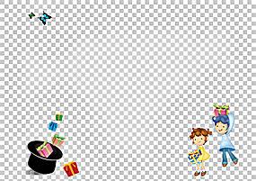 卡通山水画海报Fukei,可爱的卡通PNG剪贴画水彩画,卡通人物,漫画,