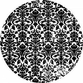 简洁黑色花纹圆形背景矢量图片