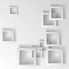 简洁立体几何中空方形底图背景