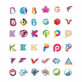 彩色字母logo设计