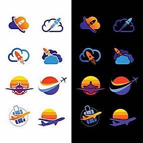 飞机云朵logo设计