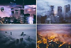 芝加哥,市,景观,抽烟,晚,晚间,早上,打火机,灯火36090