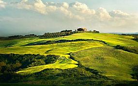 景观,领域,云,丘陵,屋,建造,绿色,天空,草原,大气背景