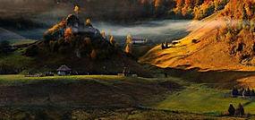 景观,丘陵,森林,秋季,薄雾,村庄,篱笆225546