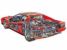 汽车,跑车,红色的汽车,素描,引擎,齿轮,车轮,信息图表,白色背景,