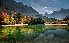 景观,湖,山,森林,秋季,薄雾,日落,水,海滩,斯洛文尼亚,树木263868