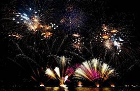 烟花,新年,假日,湖,意大利,灯火,晚,景观312038