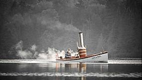 景观,水,船,男人,老人,水手,胡须,轮船,抽烟,薄雾,湖,树木,森林,