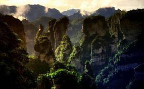景观,山,森林,日落,薄雾,石灰石,岩,中国,阿凡达,世界遗产,树木24