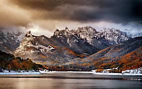 景观,山,森林,秋季,云,雪,湖,冷254184