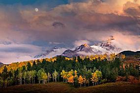 景观,山,森林,秋季,月亮,云,树木,阳光,雪峰,科罗拉多州330194