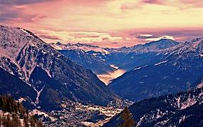 景观,山,森林,秋季,雪,云,谷,薄雾,树木,日落,意大利272868