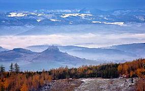 景观,山,森林,秋季,雪,薄雾,树木291913