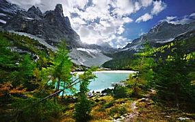 景观,山,云,湖,天空,森林,秋季,路径,树木,草270090