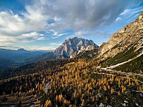 摄影,景观,山,森林,秋季,路,云,白云岩(山),意大利381777