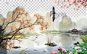 中国山水画油画,中国风创造性的背景美好的风景,湖包围与山和树例