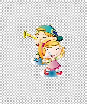 长笛女孩舞蹈,美丽可爱的卡通小人长笛跳舞PNG剪贴画卡通人物,儿