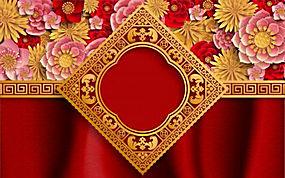中式红色喜庆背景矢量图 (2)
