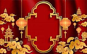 中式红色喜庆背景矢量图 (8)