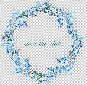 花框架,蓝色边框,蓝色和粉红色的花环装饰PNG剪贴画帧,其它,矩形,图片