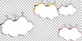 爱云边界,四个什锦彩色云PNG剪贴画边框,框架,文本,云,心,海报,边图片