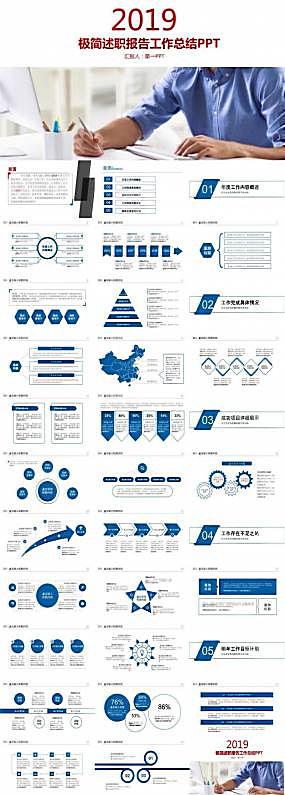 简洁设计的述职报告工作总结ppt模板图片